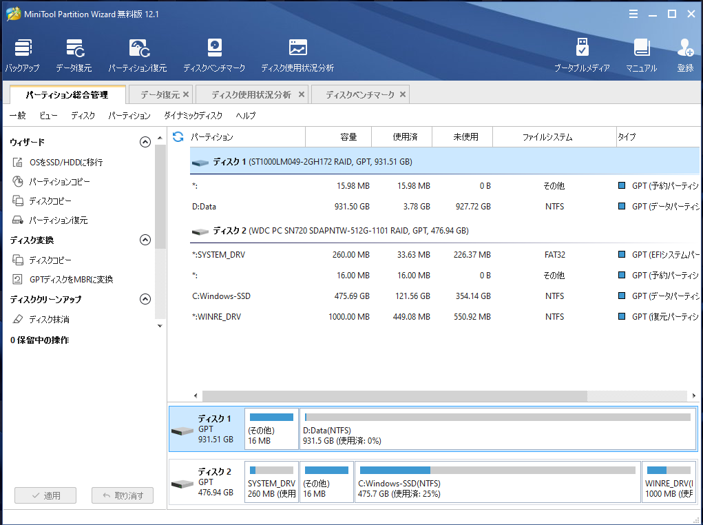 MiniTool Partition Wizard無料版